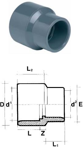 PVC Verloopsok - 50 mm x 40 mm