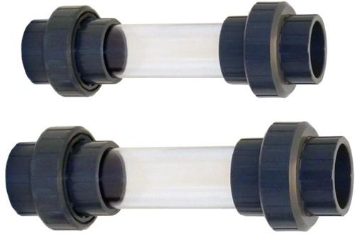 Zichtglas uit Transparante Buis met 3/3 koppeling - 63 mm